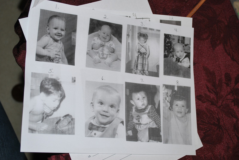 1) Samantha, 2) Andrew, 3) Aunt Karla, 4) Jacob, 5) Uncle Doug, 6) Uncle Mike, 7) Lauren, 8) Alexandra