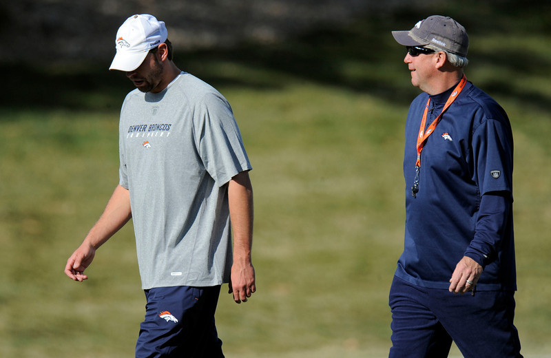. Denver Broncos quarterbacks coach Adam Gase and head coach John Fox during practice November 23, 2011 as they get ready to face the San Diego Chargers Sunday, November 27, 2011 at Qualcomm Stadium. John Leyba, The Denver Post