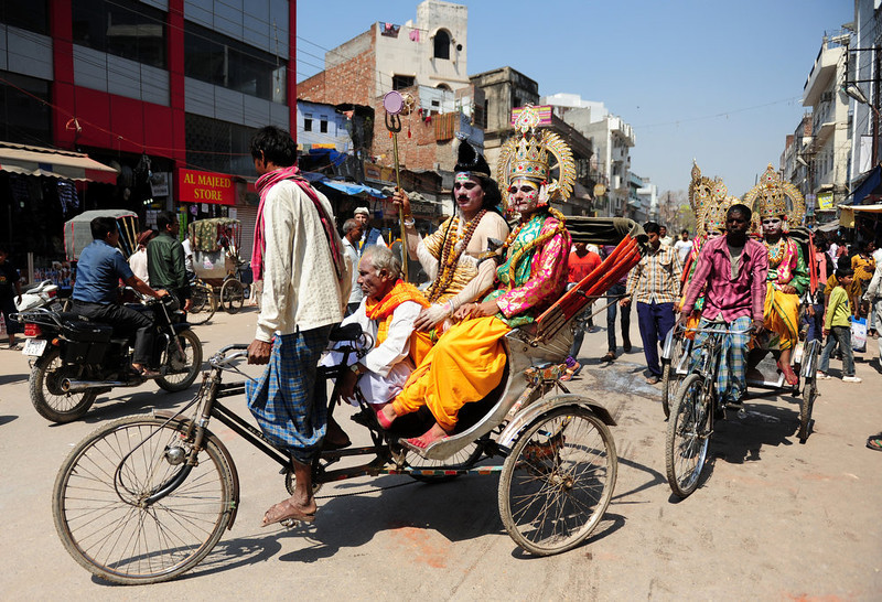 . Indian Hindu artists dressed as Lord Shiva and his consort Parwati ride in a religious procession in Varanasi on March 10, 2013 on the occasion of Maha Shivaratri and the last day of the Kumbh. The festival of Maha Shivaratri is marked by Hindus through fasting and offering prayers in a night long vigil.   Sanjay Kanojia/AFP/Getty Images