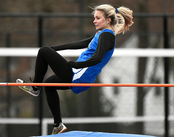 4/17/2018 Mike Orazzi | Staff Plainville's Agata Kuczynko high jump at Bristol Eastern Tuesday.
