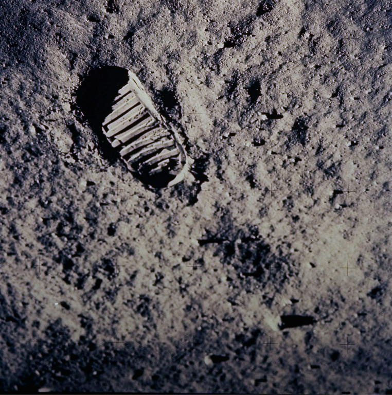 """. FILE - In this July 20, 1969 file photo provided by NASA, a footprint left by one of  the astronauts of the Apollo 11 mission shows in the soft, powder surface of the moon. Commander Neil Armstrong and Edwin \""""Buzz\"""" Aldrin became the first men to walk on the moon after blastoff from Cape Kennedy, Fla., on July 16, 1969. (AP Photo/NASA, File)"""