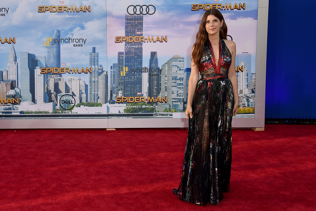 """. Marisa Tomei arrives at the Los Angeles premiere of \""""Spider-Man: Homecoming\"""" at the TCL Chinese Theatre on Wednesday, June 28, 2017. (Photo by Jordan Strauss/Invision/AP)"""