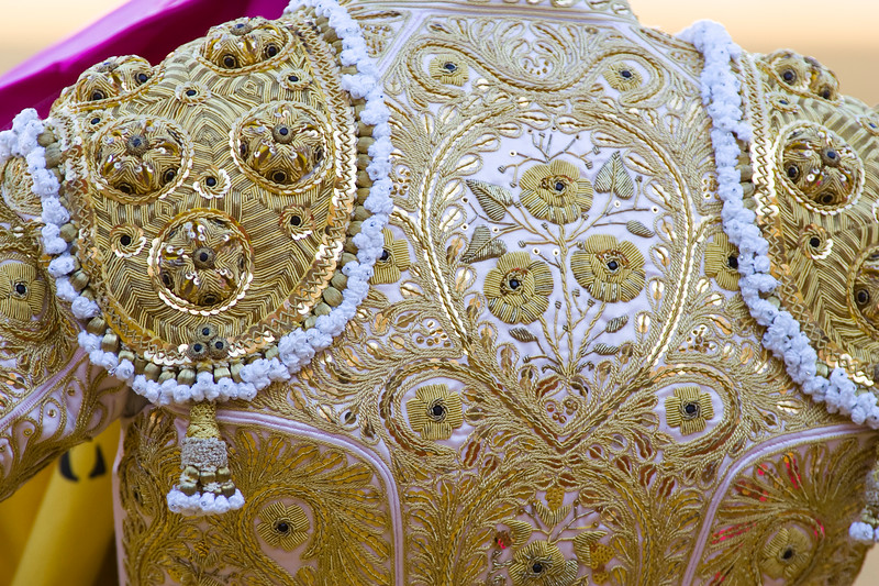 """Detail of the """"traje de luces"""" or bullfighter dress, Real Maestranza bullring, Seville, autonomous community of Andalusia, southern Spain"""