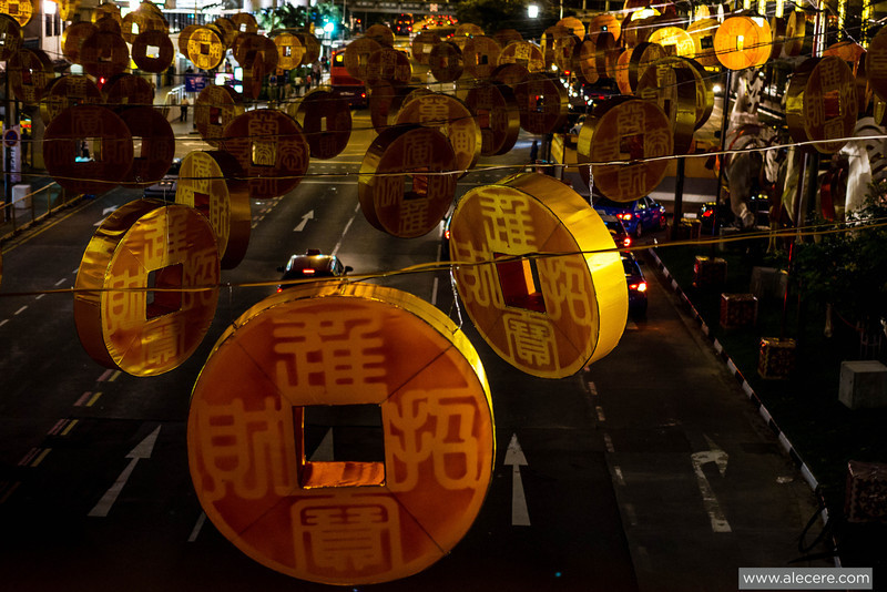 Rain of giant coins in the streets of Singapore