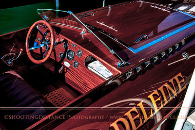 Sleek wooden speedboat, Madeleine, at 2011 Concours d'Elegance, Lake Tahoe