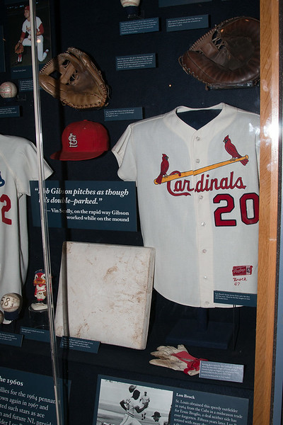 Lou Brock 1974 Cardinals jersey and 105th stolen base (1974), plus Bob Gibson hat & glove, McCarver glove, etc -- A trip to the Baseball Hall of Fame, Cooperstown, NY, June 2014