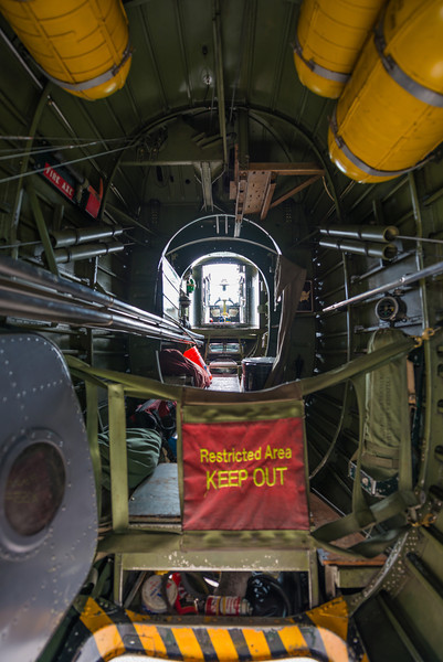 Looking back to the tail gunner statopm, from the waist gunner position.