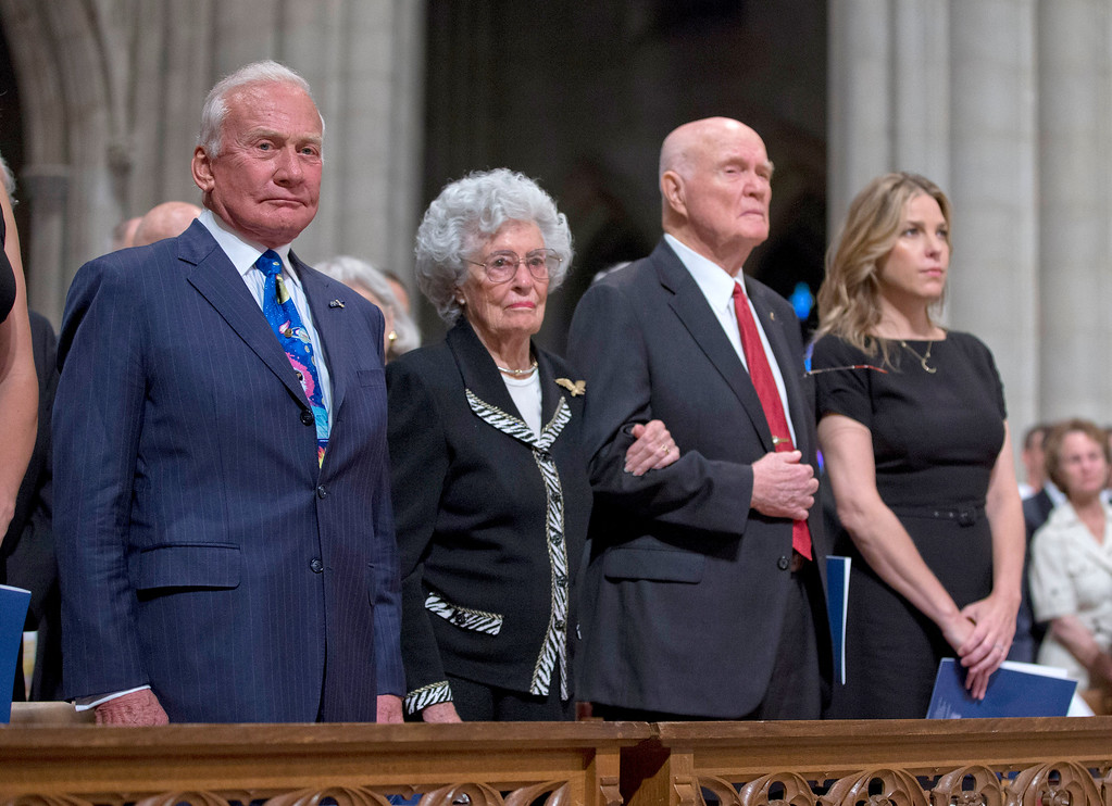 . From left,Apollo 11 astronaut Buzz Aldrin, Annie Glenn, wife of former Ohio Sen. John Glenn, Glenn, and singer Diana Krall, watch during a memorial service for astronaut Neil Armstrong, Thursday, Sept. 13, 2012,  at the National Cathedral in Washington. (AP Photo/Pool, Evan Vucci, Pool)