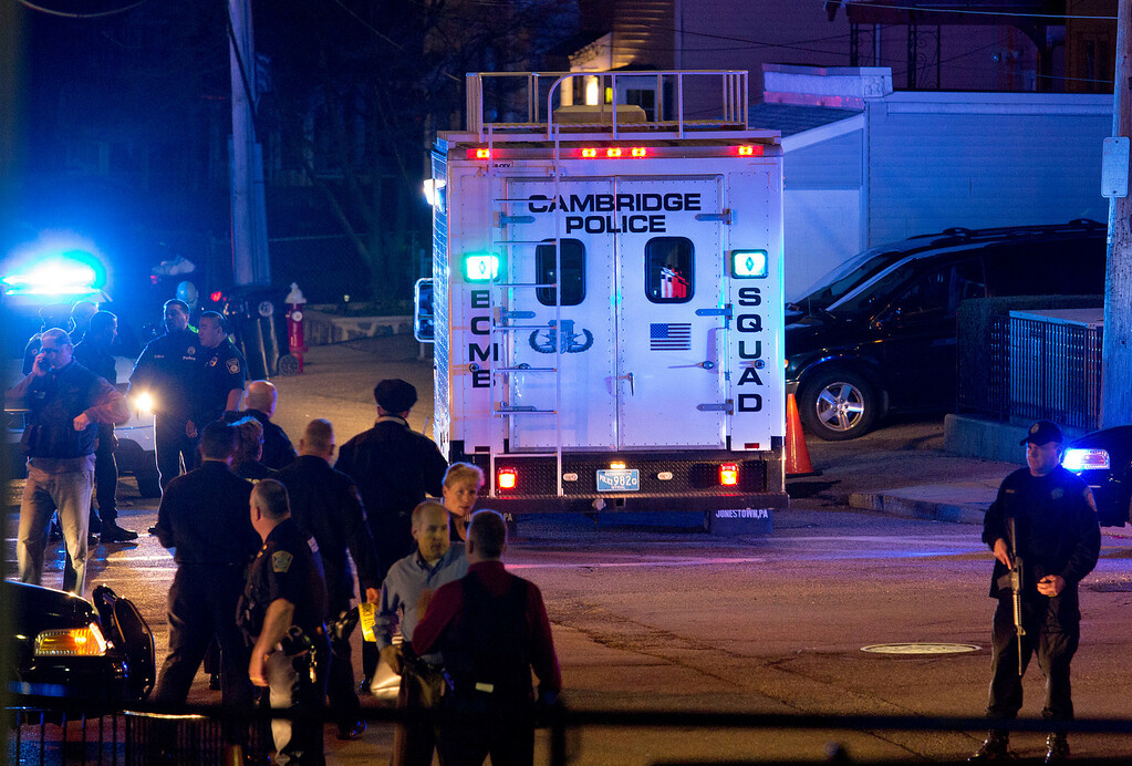 . A bomb squad truck arrives at an incident Friday, April 19, 2013, in Watertown, Mass. in which shots were reported to have been fired. (AP Photo/Craig Ruttle)