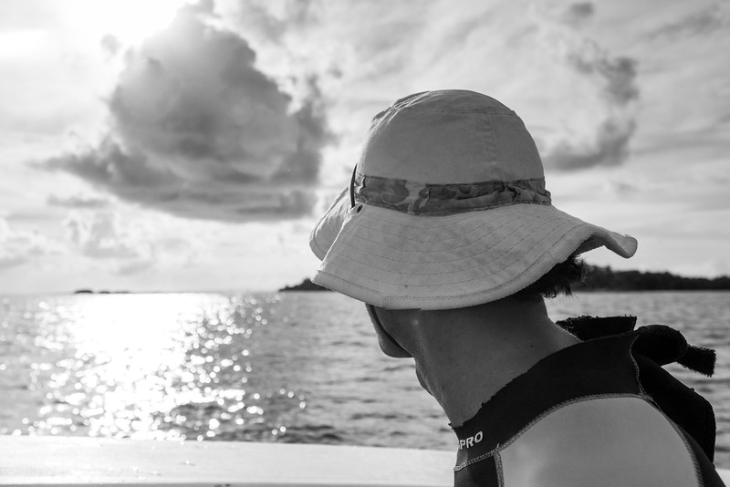 Tourist looking at sea, Belize