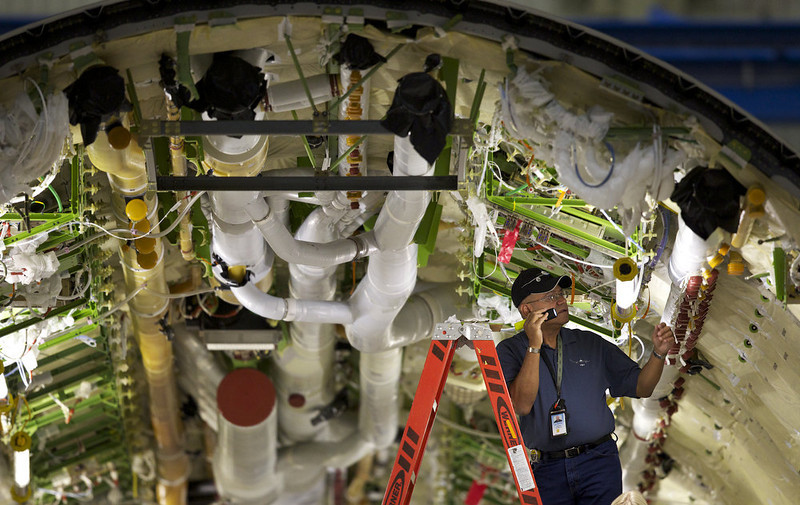 . The Federal Aviation Administration (FAA) is to undertake a review of Boeing�s 787 Dreamliner after confidence in the aircraft was hit by a series of incidents. EVERETT, WA - SEPTEMEBER 25: A Boeing employee works inside the fuselage of a Boeing 787 Dreamliner September 25, 2011 in Everett, Washington. Boeing delivered its long-awaited and delayed first 787 airliner to All Nippon Airways which it will celebrate before ANA flies the airliner to Japan September 27, 2011. (Photo by Stephen Brashear/Getty Images)