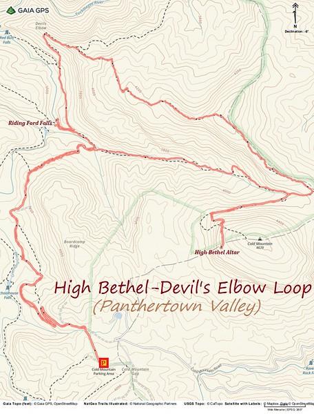 High Bethel/Devil's Elbow Loop Hike Route Map