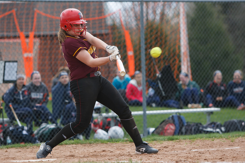 Sheehan's Carolyn Biel (31) drives one into center field Monday at Lyman Hall High School in Wallingford  Apr. 27, 2015 | Justin Weekes / For the Record-Journal