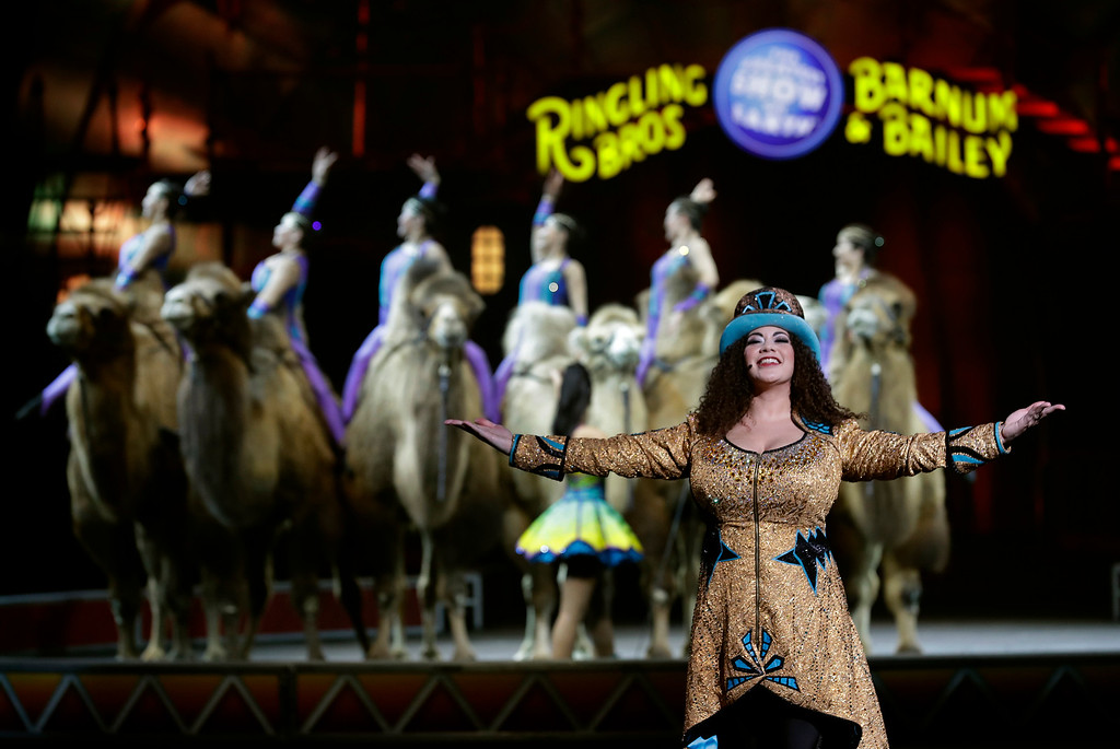 ". Ringling Bros. and Barnum & Bailey Ringmaster Kristen Michelle Wilson performs Saturday, Jan. 14, 2017, in Orlando, Fla. The Ringling Bros. and Barnum & Bailey Circus will end the ""The Greatest Show on Earth\"" in May, following a 146-year run of performances. Kenneth Feld, the chairman and CEO of Feld Entertainment, which owns the circus, told The Associated Press. Declining attendance combined with high operating costs are among the reasons for closing. (AP Photo/Chris O\'Meara)"