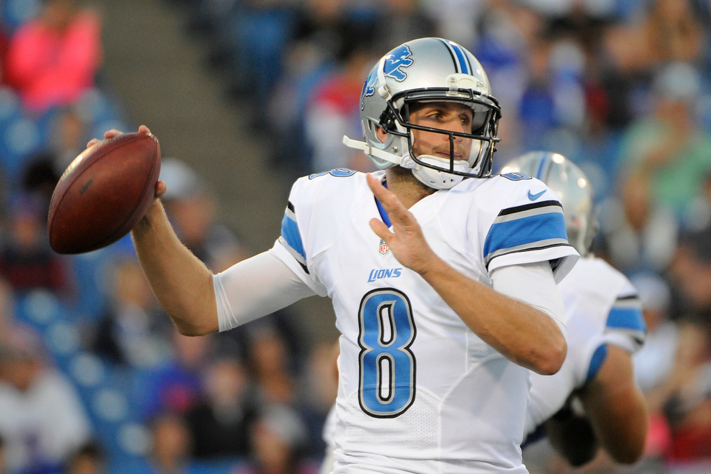 . Detroit Lions quarterback Dan Orlovsky looks to pass against the Buffalo Bills during the first half of a preseason NFL football game, Thursday, Aug. 28, 2014, in Orchard Park, N.Y. (AP Photo/Gary Wiepert)