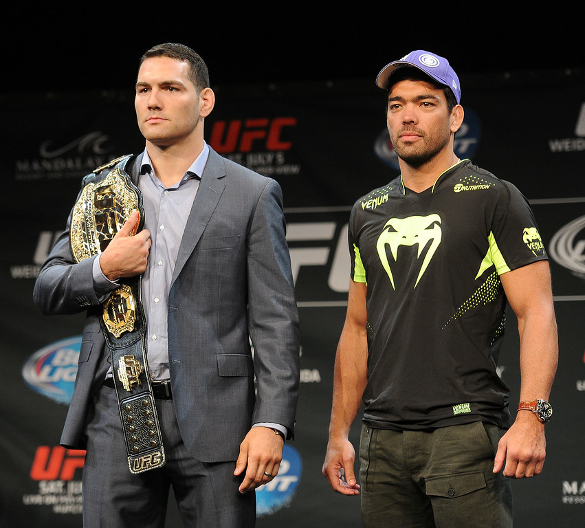 . UFC Middleweight champion Chris Weidman and challenger Lyoto Machida during Ultimate Media Day at the Mandalay Bay Events Center Thursday, July 3, 2014. (Photo by Hans Gutknecht/Los Angeles Daily News)