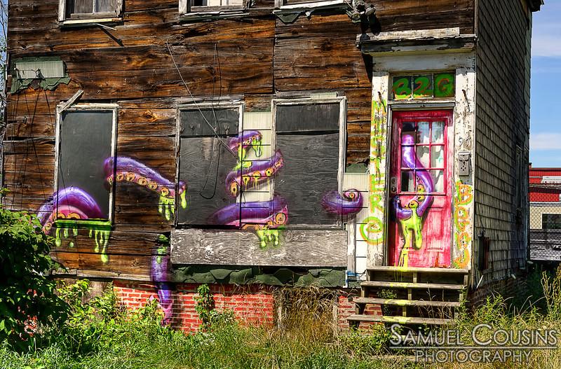 Graffiti on an abandoned house