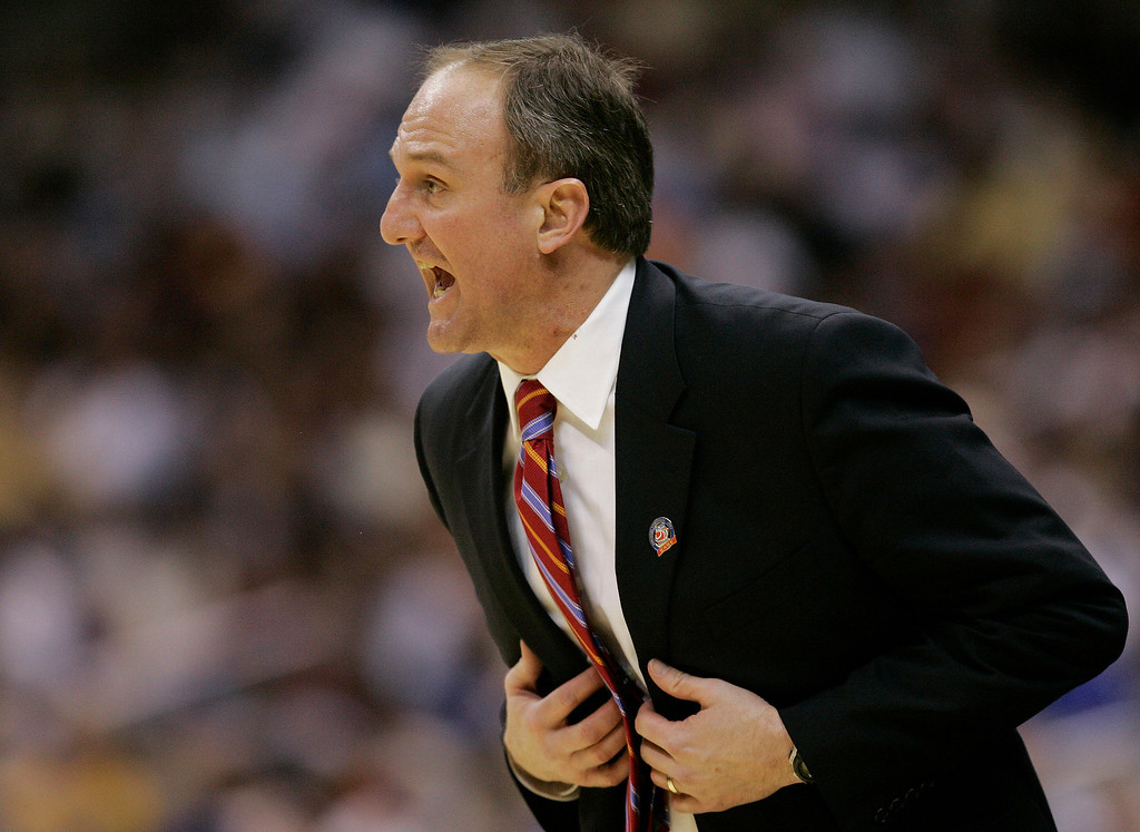 . Ohio State coach Thad Matta yells instructions to his team during their NCAA South Regional semi-final basketball game against Tennesee at the Alamodome in San Antonio Thursday, March 22, 2007.  (AP Photo/David J. Phillip)