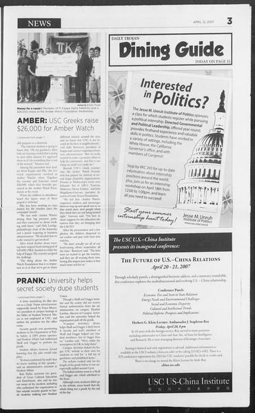 Daily Trojan, Vol. 160, No. 57, April 12, 2007