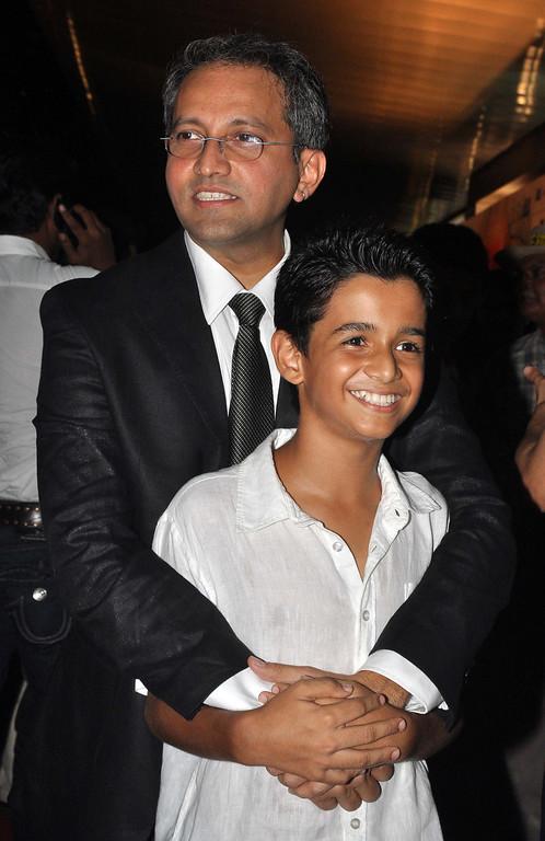 . Indian Bollywood child actor Ritvik Sahore (R) and director Rajesh Mapuskar pose during the premiere of Hindi film \'Ferrari Ki Sawaari\' in Mumbai on June 14, 2012.  STRDEL/AFP/GettyImages