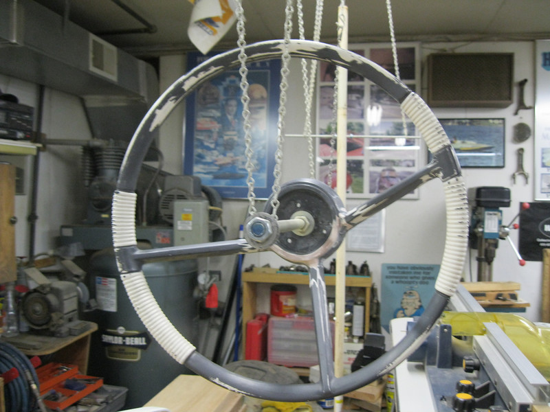 Front view of steering wheel repaired ready for paint.