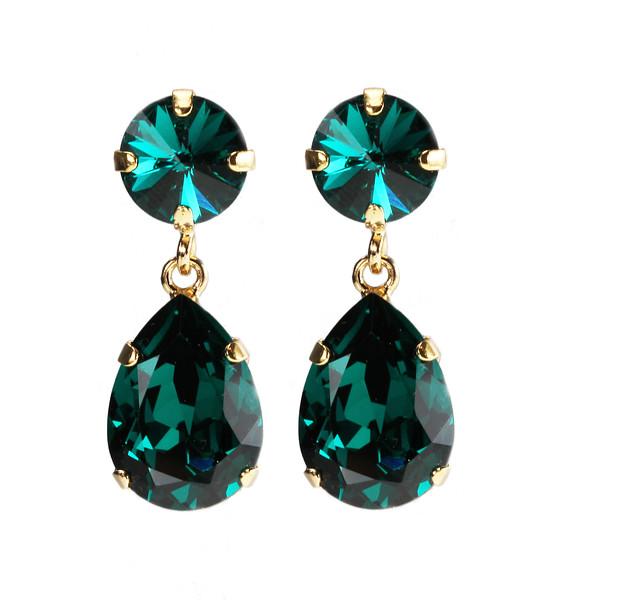 Classic Drop Earrings / Emerald