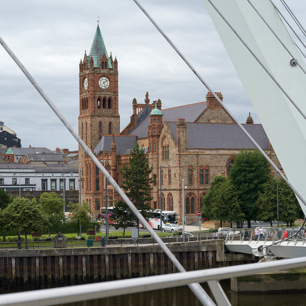 Guildhall seen from the Peace Bridge, Londonderry, Northern Ireland, United Kingdom