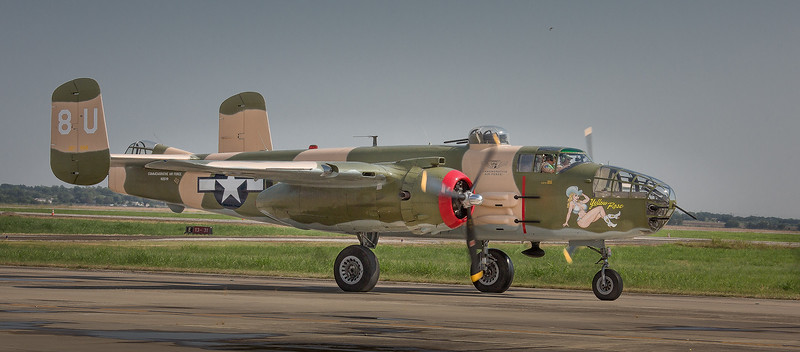 "B-25 ""Yellow Rose"" of the Commemorative Air Force preparing for take-off."