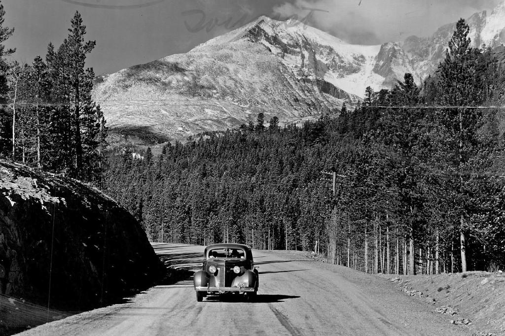 . Mt. Meeker, Rocky Mountain National Park Colorado, Trail Ridge Road. JUN 4 1940. (Denver Post Library photo archive)
