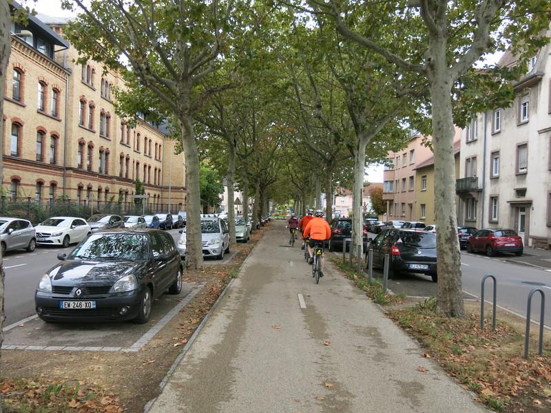 Biking in the median bike path through Colmar, France.