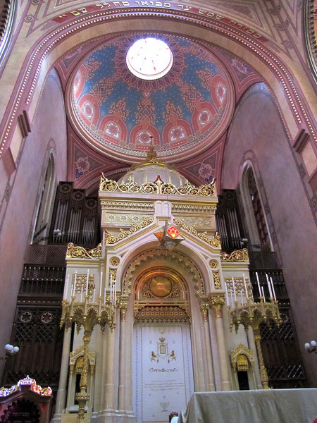 15-Ark, Great Synagogue. Note the organ. Building badly damaged by air raids during Nazi Occupation and more so during the Siege of Budapest. During the Communist era the damaged structure again became a prayer house for the much-diminished Jewish community.