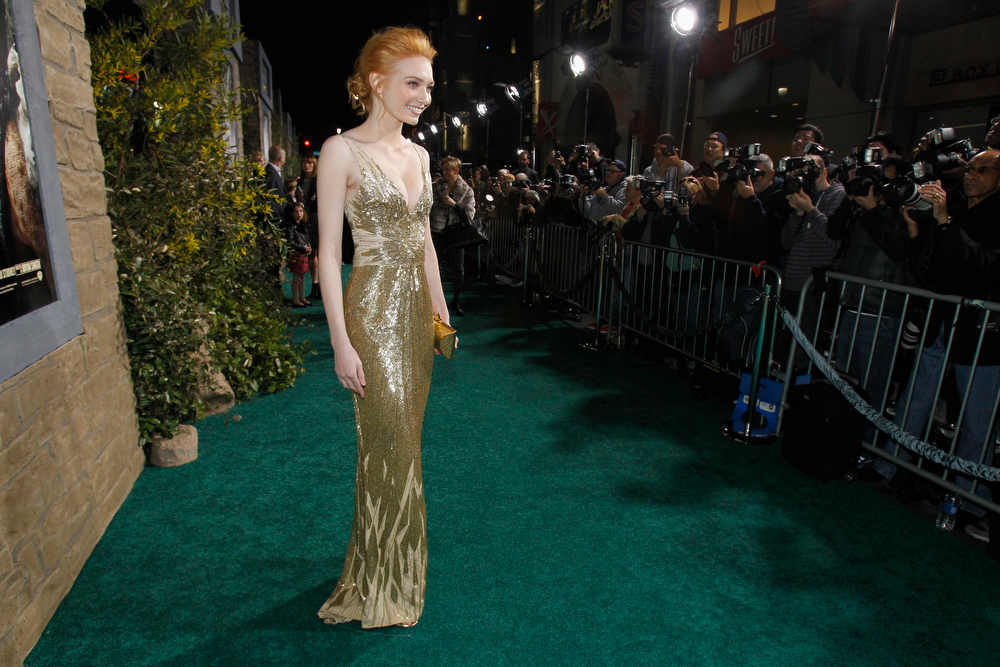 """Description of . Cast member Eleanor Tomlinson poses at the premiere of \""""Jack the Giant Slayer\"""" in Hollywood, California February 26, 2013. The movie opens in the U.S. on March 1.  REUTERS/Mario Anzuoni"""