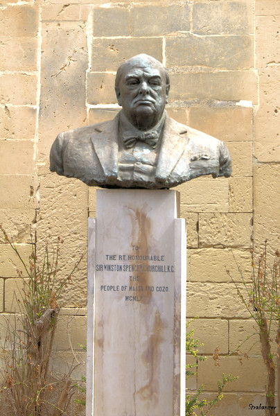 Bust of Sir Winston Churchill, Upper Barracca Gardens, Valletta,      The bust was presented by the people of Malta on the occasion of  Churchill's 80th birthday. 03/23/2019 This work is licensed under a Creative Commons Attribution- NonCommercial 4.0 International License