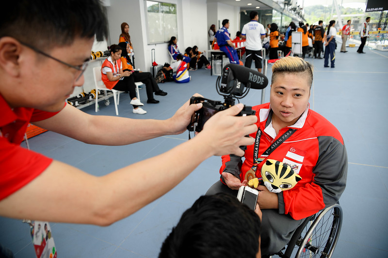 PARA SWIMMING - THERESA RUI SI GOH during the victory ceremony & interview representing Singapore in Women's 100 LC Meter Breaststroke Finals at Aquatics Centre, KL on September 20th, 2017 (Photo by Sanketa Anand)