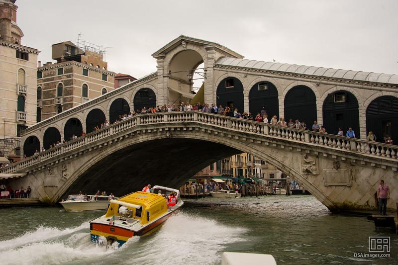 Ambulance going under the Rialto Bridge