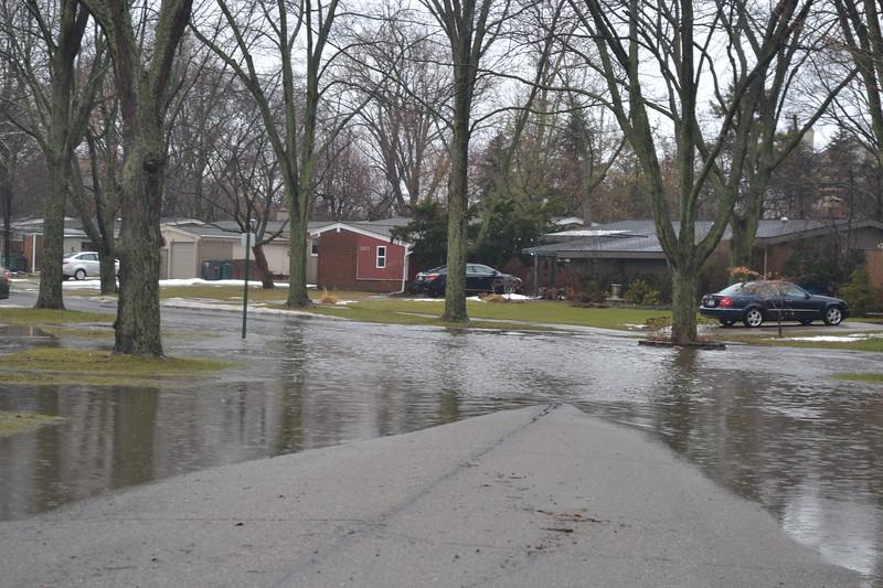A neighborhood street is flooded in Troy, near Big Beaver and Adams roads. Anne Runkle / Digital First Media.
