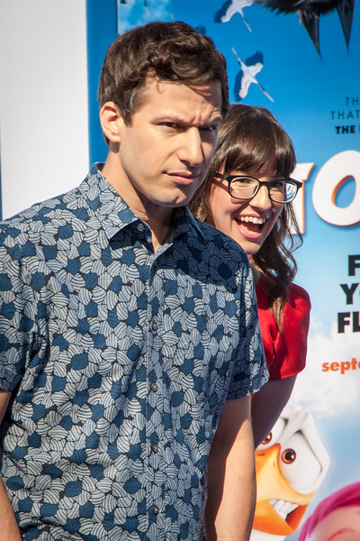 WESTWOOD, CA - SEPTEMBER 17: Actors Andy Samberg and Katie Crown attend the premiere of Warner Bros. Pictures' 'Storks' at Regency Village Theatre on Saturday September 17, 2016 in Westwood, California. (Photo by Tom Sorensen/Moovieboy Pictures)