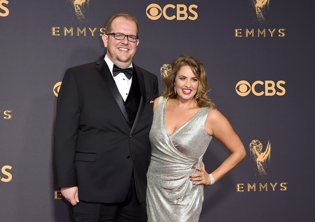 . Dominic Burgess, left, and Sara Cravens arrive at the 69th Primetime Emmy Awards on Sunday, Sept. 17, 2017, at the Microsoft Theater in Los Angeles. (Photo by Richard Shotwell/Invision/AP)