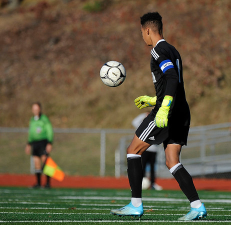 11/15/2019 Mike Orazzi | StaffrBristol Easterns Nathan DiLoreto (1) during the Class L Quarterfinal State Boys Soccer Tournament at Eastern on Friday.