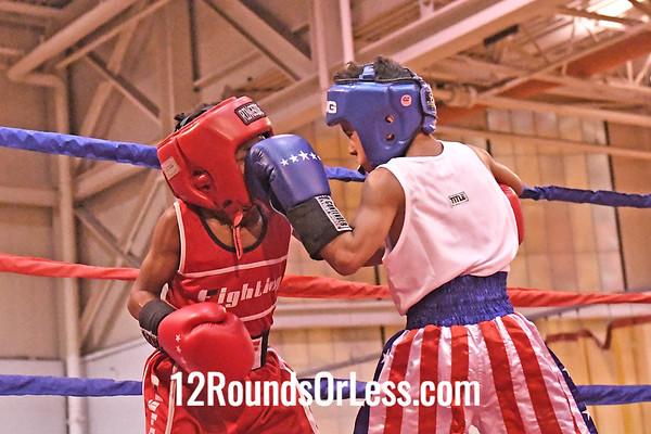Bout 6 Andre McCallum, Blue Gloves, Bull Pen, Toledo -vs- Kastiere Gilmore, Red Gloves, MLK Premier, E. Cleve, 60 Lbs, 8-9 Yrs