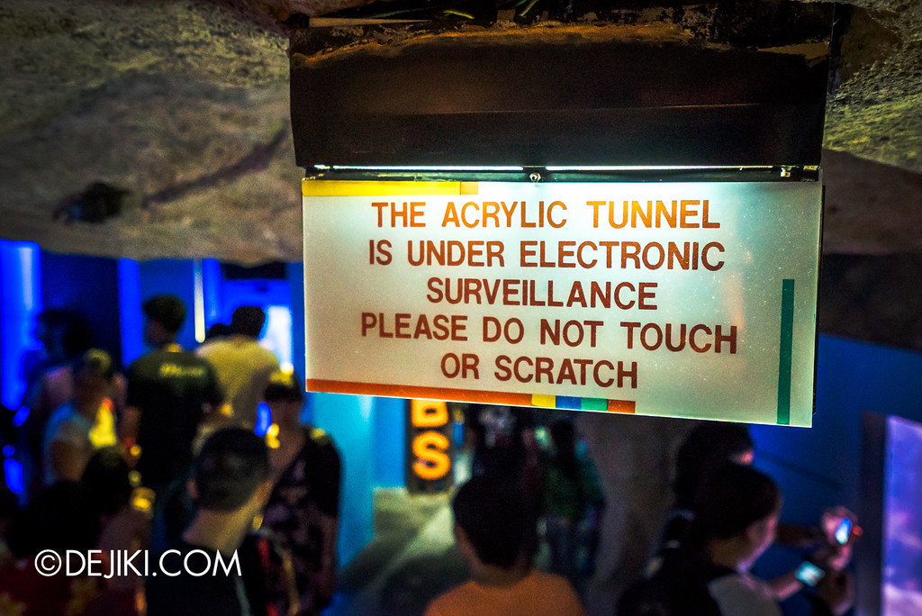 Underwater World Singapore - Tunnel warning