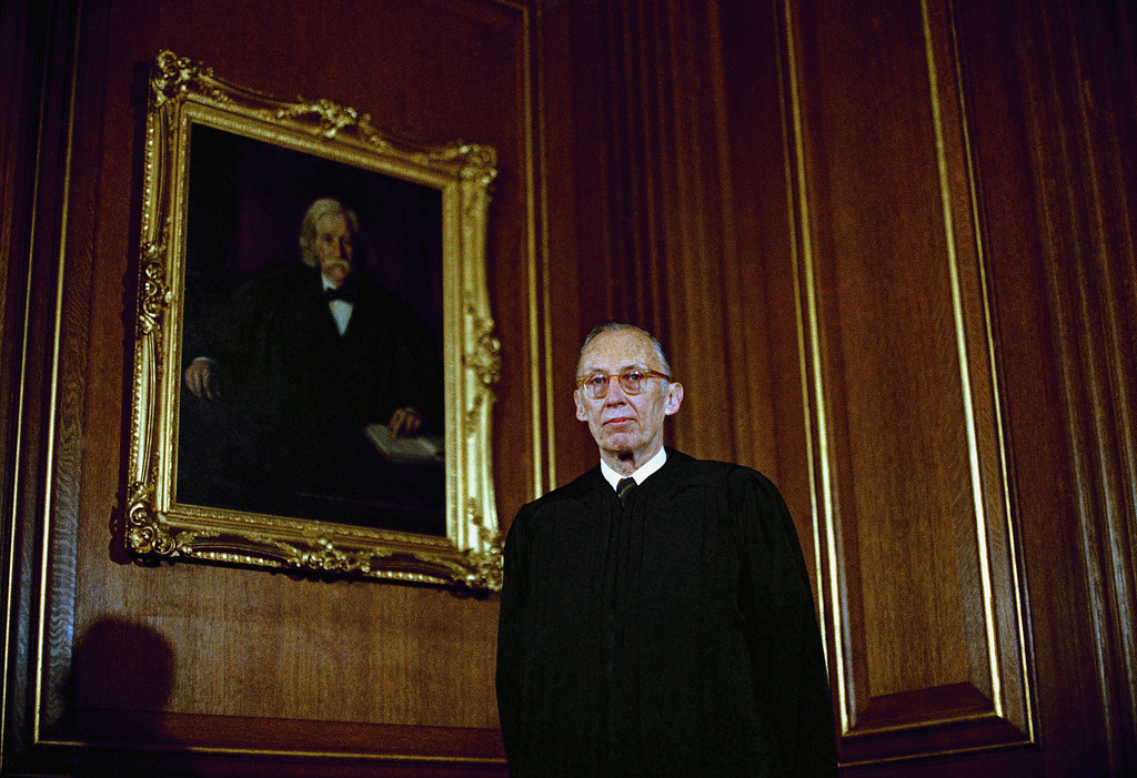 . Supreme Court Justice, Lewis Franklin Powell, Jr. shown in Washington, DC, wearing judicial robes in 1972. (AP Photo)