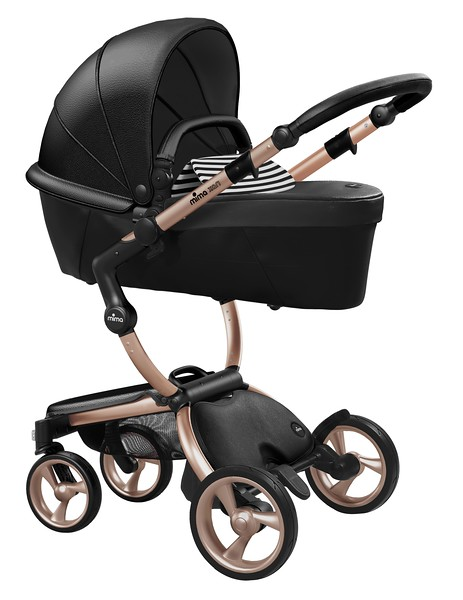Mima_Xari_Product_Shot_Black_Flair_Rose_Gold_Chassis_Black_And_White_Carrycot.jpg