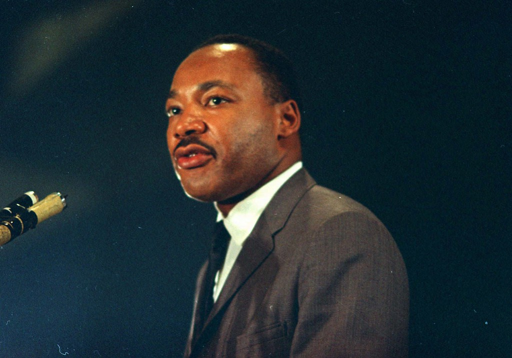 . Dr. Martin Luther King speaks March 25, 1967 at the Chicago peace march. (AP Photo/Chick Harrity)