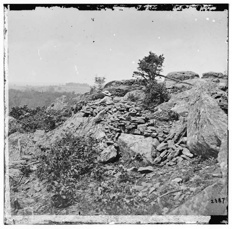 . Gettysburg, Pa. Breastworks on left wing of the Federal line. Photograph from the main eastern theater of the war, Gettysburg, June-July, 1863.  - Library of Congress Prints and Photographs Division Washington, D.C.