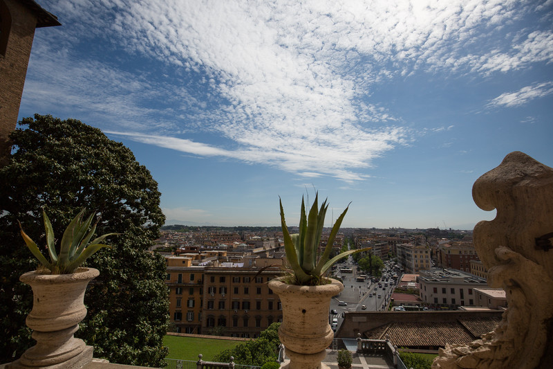 A view of Rome from a porch in the Vatican Museum.