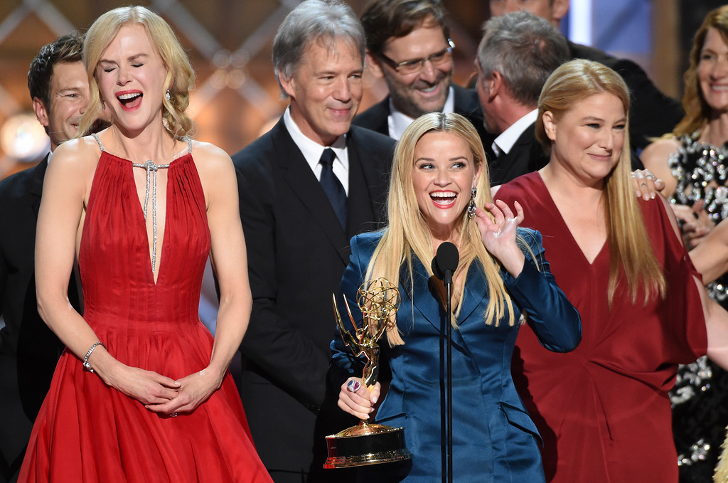 ". Nicole Kidman, left, and Reese Witherspoon accept the award for outstanding limited series for ""Big Little Lies\"" at the 69th Primetime Emmy Awards on Sunday, Sept. 17, 2017, at the Microsoft Theater in Los Angeles. (Photo by Phil McCarten/Invision for the Television Academy/AP Images)"