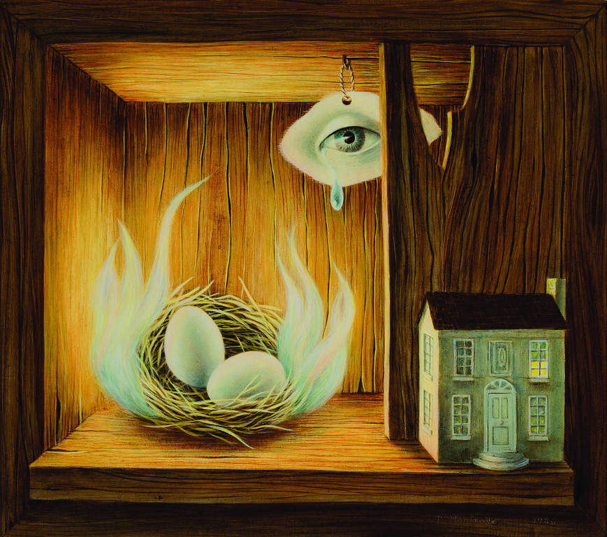 ". ""Burning Nest,\"" a 1986 painting by Phyllis Hutchinson Montrose. Her work is on display at the Kirkland Museum."