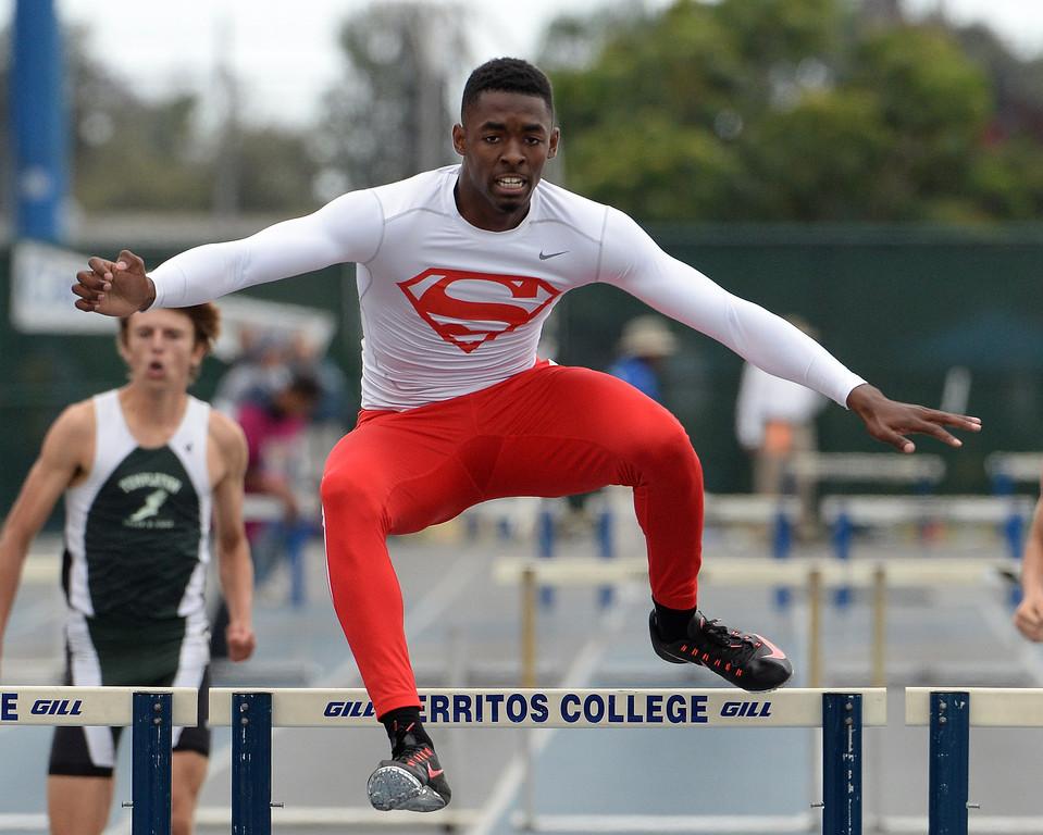 . Serra\'s Jordan Lasley wins the division 4 300 meter Intermediate hurdles during the CIF Southern Section track and final Championships at Cerritos College in Norwalk, Calif., Saturday, May 24, 2014.   (Keith Birmingham/Pasadena Star-News)