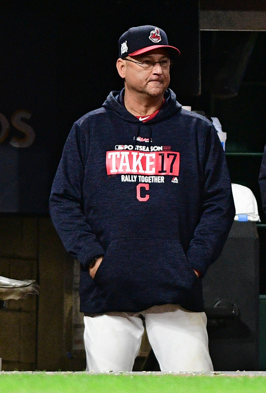 . Cleveland Indians manager Terry Francona watches in the fifth inning of Game 5 of the baseball team\'s American League Division Series against the New York Yankees, Wednesday, Oct. 11, 2017, in Cleveland. (AP Photo/David Dermer)